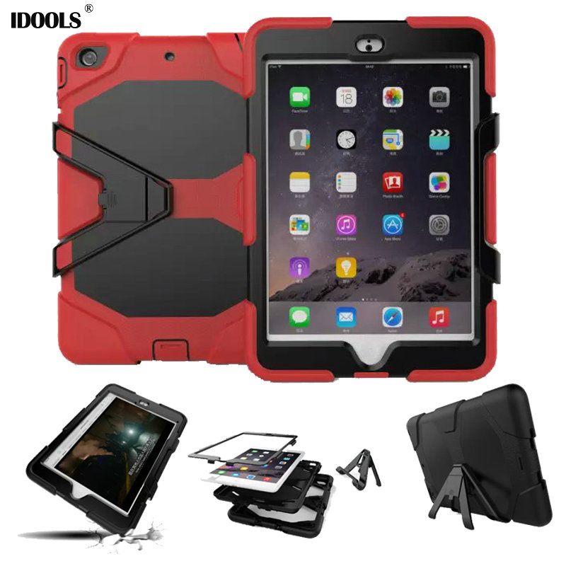 3 in 1 Hybrid Plastic+Silicon Heavy Duty Shockproof Dual Layer Rugged Military Armor Back Cover Case For iPad Mini 3 2 1 IDOOLS tire style tough rugged dual layer hybrid hard kickstand duty armor case for samsung galaxy tab a 10 1 2016 t580 tablet cover