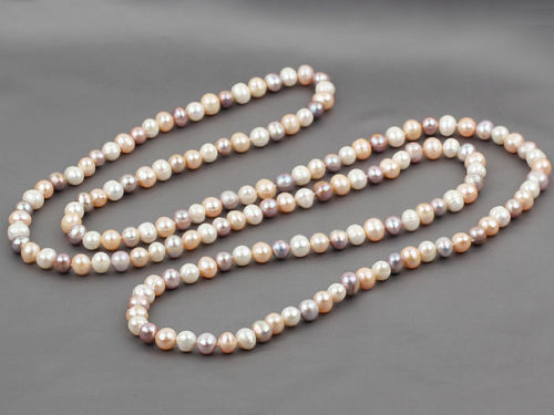 100% Selling Picture full FAB Long Style 9-10mm White, Pink and Purple Round Freshwater Pearl Necklace