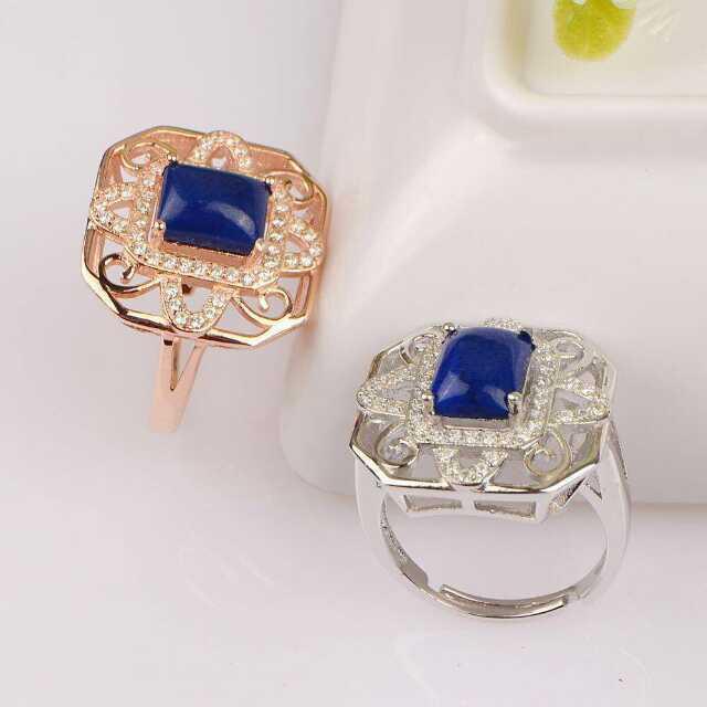 Естественный голубой лазурит Кольцо Натуральный камень кольцо стерлингового серебра 925 модный Квадрат сети женщин девушке подарок изящных Ювелирных Изделий