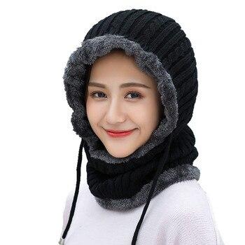 зимнее связанное из шерсти шапка бини мужской шарф Skullies вязаные