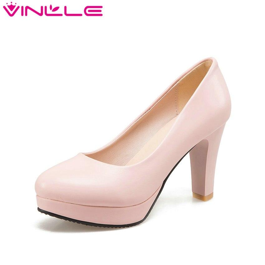 VINLLE 2017 Women Pumps Summer Ladies Shoe Elegant Square ...