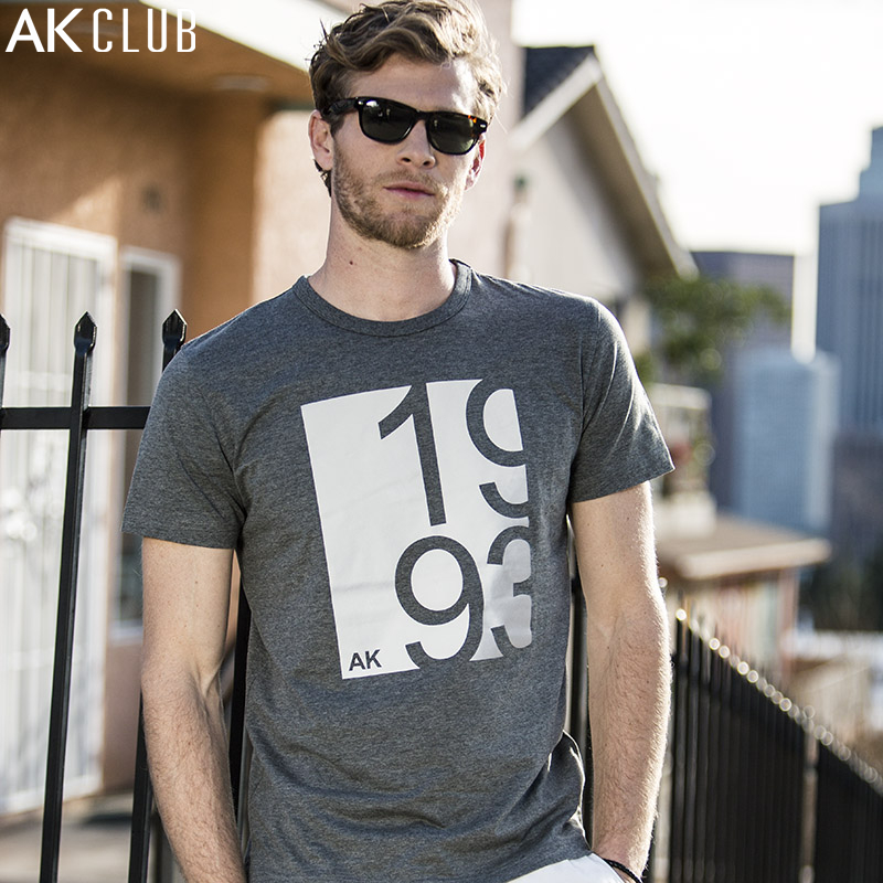 AK CLUB Brand T-shirt Mercerized Cotton Tshirt Gradient Reflective Material Printing T Shirt Slim Fit Men T-shirt Casual 1700020
