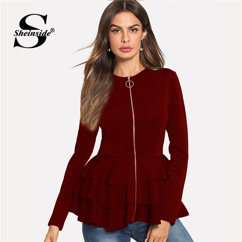 Sheinside Burgundy O-Ring Zip Up Tiered Layer Ruffle Hem Blazer Elegant Long Sleeve Outerwear Women Autumn Plain Workwear Coats
