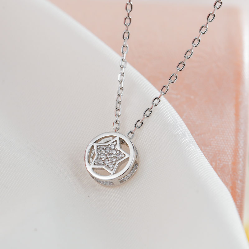 SA SILVERAGE Real 925 Sterling Silver Necklaces Pendants Sun with Star Long Chain Fine Jewelry Round Pendant Silver Necklace sa silverage real 925 sterling silver crystal key necklaces pendants for women silver chain pendant necklaces wedding gifts