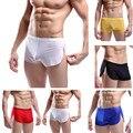 Venta caliente de los hombres de ventilación sexy comfy shorts underwear perspectiva gasa boxer underpant intimates shorts soft solid 5 colores