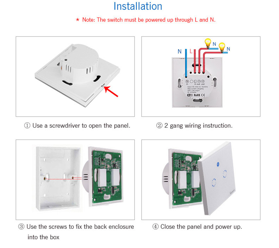 Sonoff T1 Eu Uk Panel Wifi Rf 433 App Touch Control Wireless Wiring A 1 Way Light Switch 4
