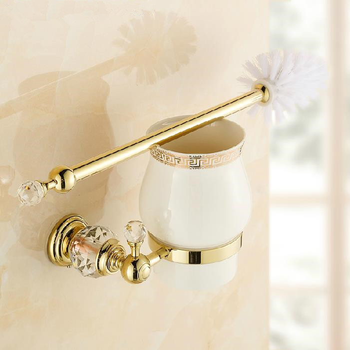 Free Shipping European Style Gold Plated Solid Brass Crystal Toilet Brush Holder Bathroom Brush