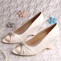 (20 Cores) Personalizado Handmade Elegante Vestido Das Mulheres do Salto de Cunha Sapatos de Casamento Do Marfim Cetim