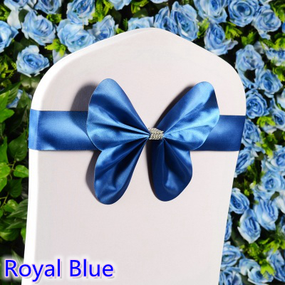 Royal blue colour chair sash wedding mini style butterfly bow tie lycra band stretch bow tie ribbon for chair covers on sale