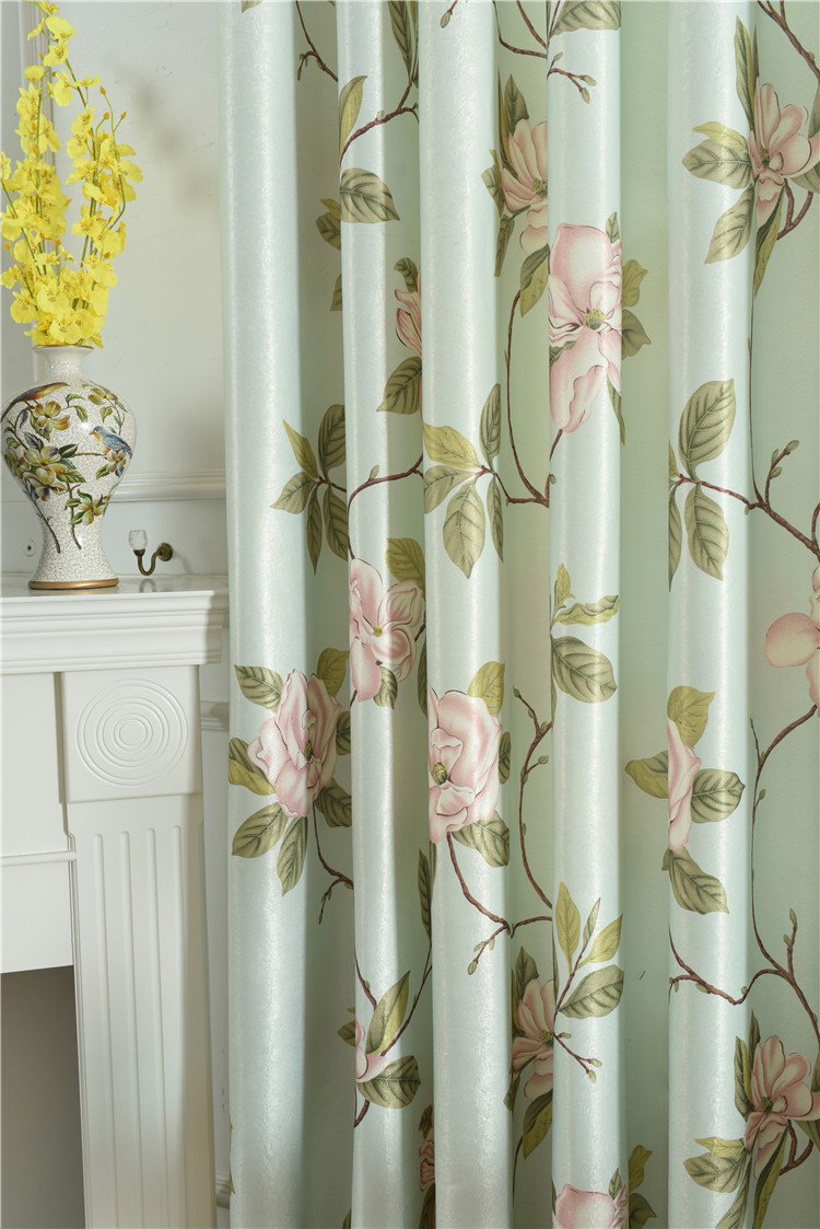 American Curtains for Living Room High-grade Curtain Fabric White Silk Single Velvet Printing Fresh Blackout Curtains Screens