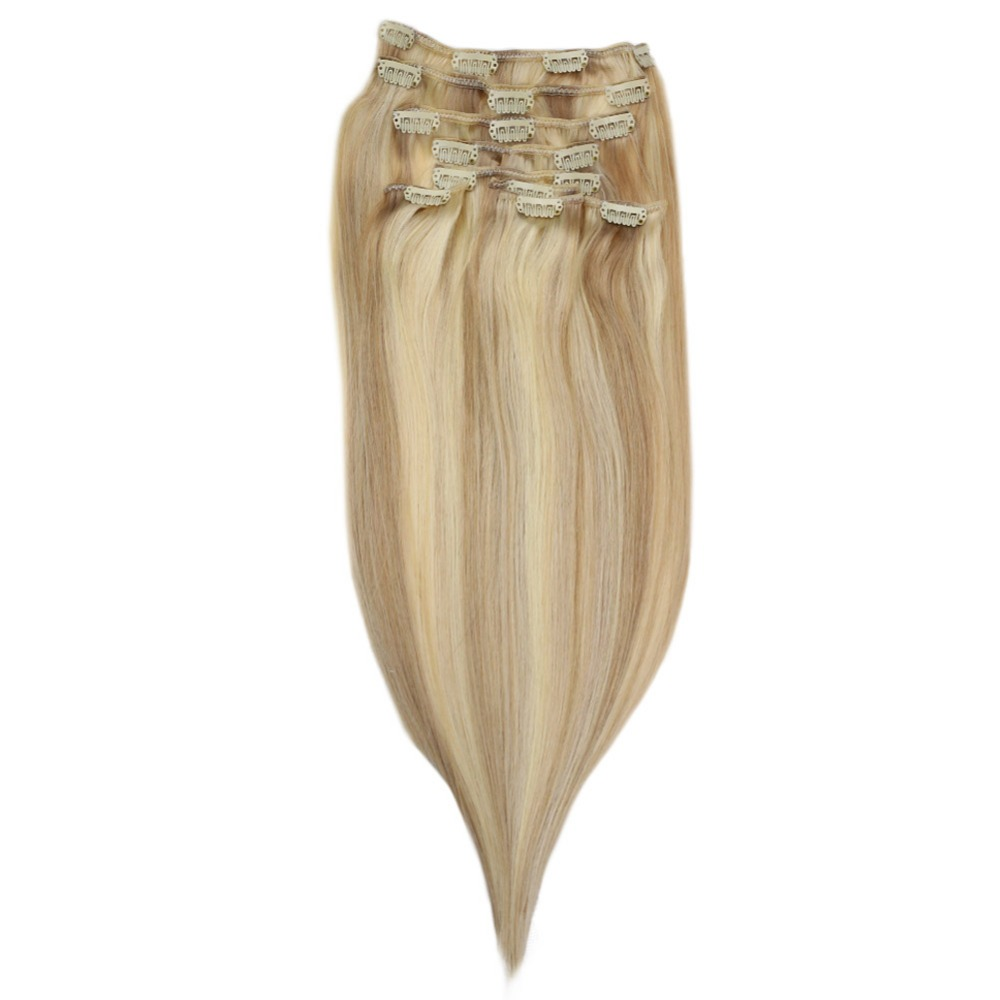 Full Shine Machine Made Remy Hair Extensions Color #18 Fading To #24 And #60 Blonde 9Pcs 100g Real Hair Clip In Human Extension
