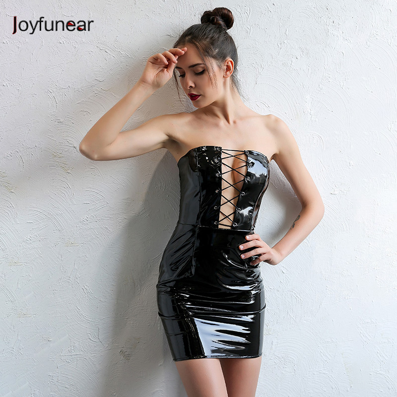 Buy Joyfunear Womens Black Sexy Bodycon Leather Dresses Strapless Latex Club Wear Costumes Clothing PVC Mini Dress Catsuits Vestidos