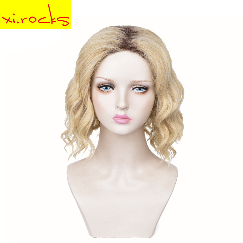 Xi  Rocks Wig Brown Synthetic Curly Wigs For Women Ombre Light Blonde Short  Wig African American Natural 13 Inches Trend