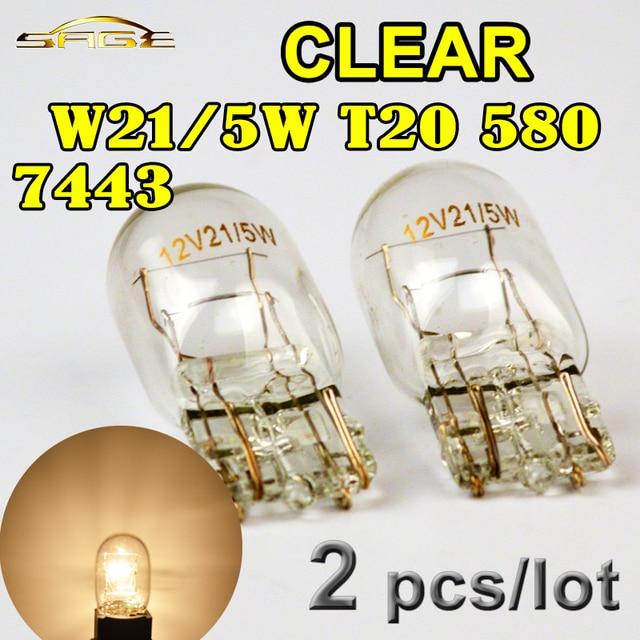 Hippcron T20 7443 580 W21/5W Clear Glass Car Signal Lamp 12V 21/5W W3x16q Auto Light Bulb (2 PCS)