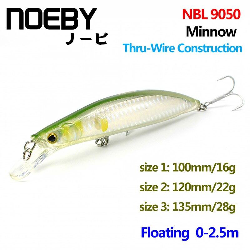 NOEBY 1 Pcs Fishing Lure 100mm/120mm/135mm Floating0-2.5m Super Minnow Bait VMC Treble Hooks ThruWire Construction NBL9050