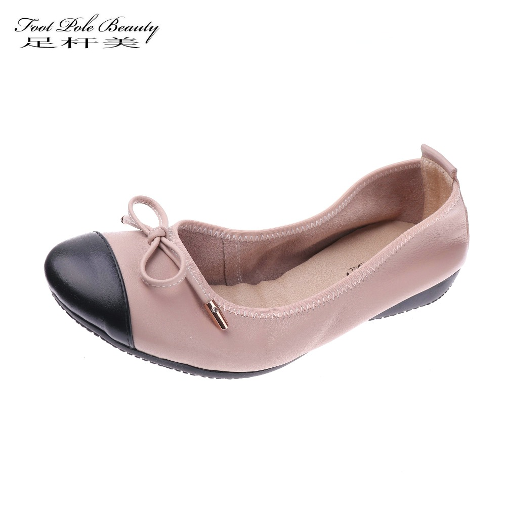 Brand Genuine Leather flats women shoes female Super soft ballerina flat shoes Casual work Loafers women