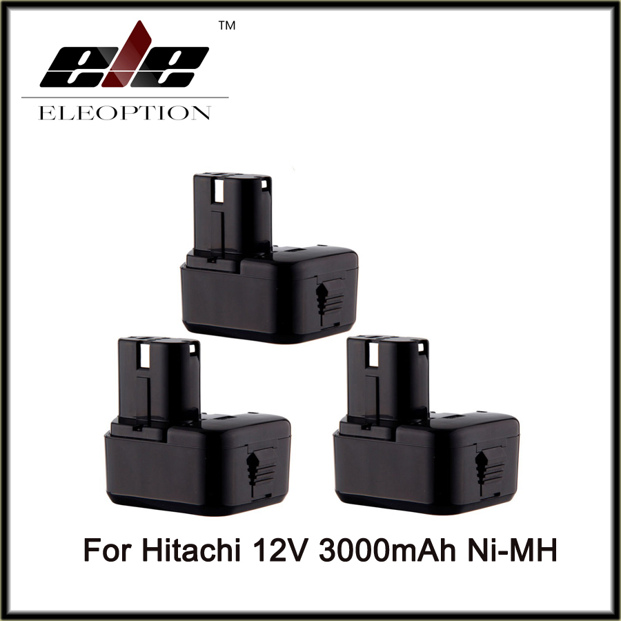 Eleoption 3PCS Cordless Drill Power Tool Replacement Battery for Hitachi EB1214L EB1212S EB1214S Battery 12V Ni-MH 3000mAh