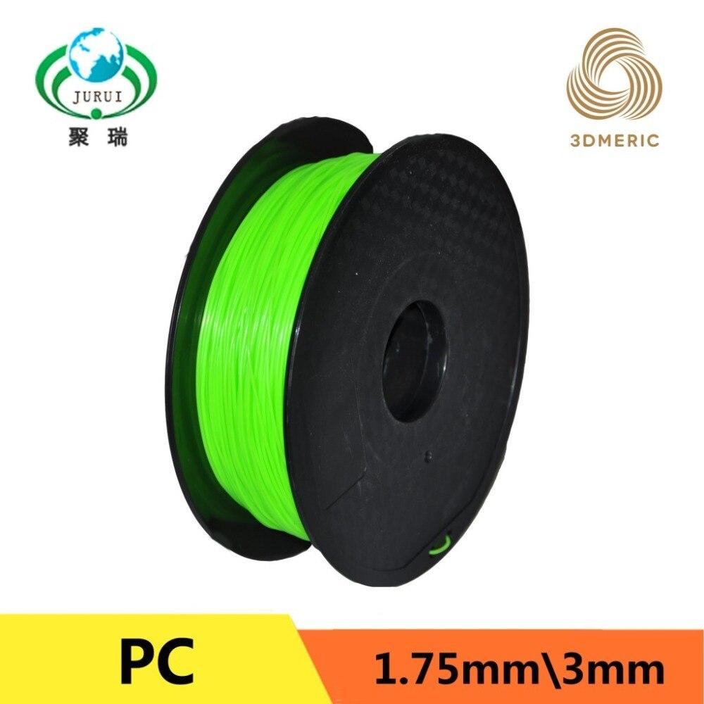 Filament d'imprimante 3D de Filament dur de PC de 1 kg 1.75mm vert pour vendre le filament d'impression