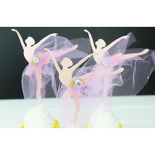 Ballet Dancing Girl Yarn Skirt Cupcake Toppers Cartoon Cake Decorations For Wedding Baby Shower Kids Birthday Party Supplies