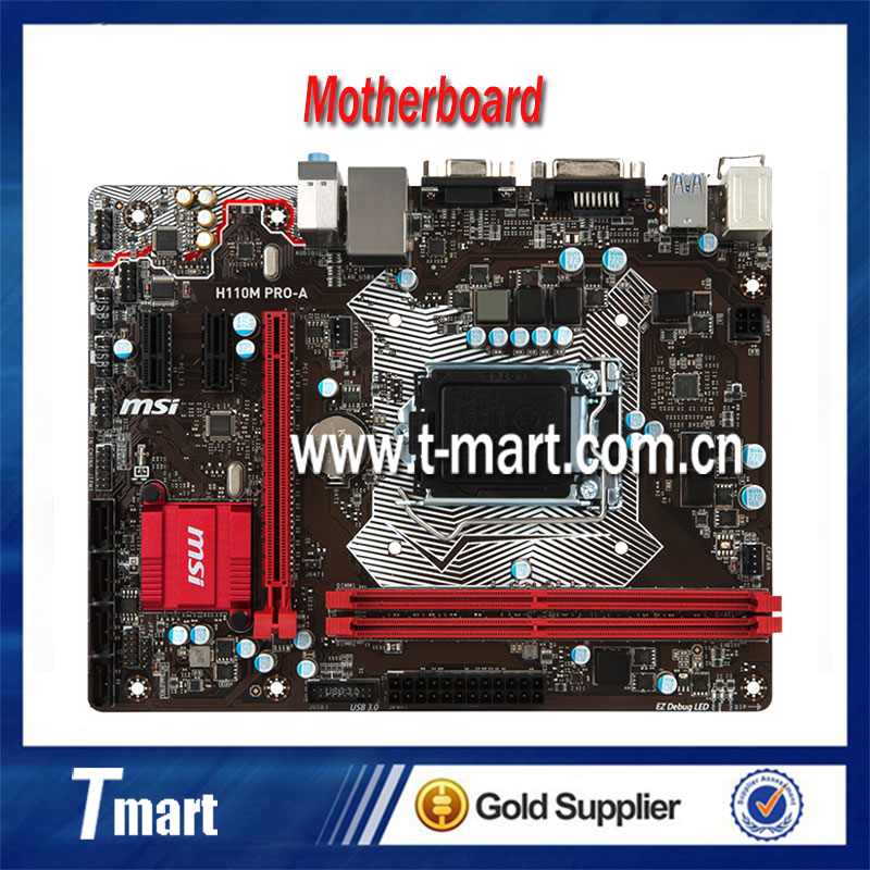 100% Working Desktop Motherboard MSI H110M PRO-A System Board Fully Tested And Perfect Quality g31 775 ddr2 integrated board 945g 100% tested perfect quality