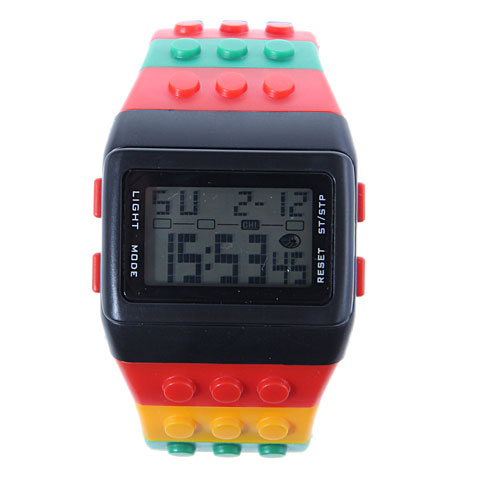2016 Chic SHHORS W 8203 Rectangle Dial Green Light LED Watch with Multi Function Display Colorful