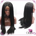 Black Yaki Silky Straight Wigs African American Synthetic Lace Front Hair Wigs With Baby Hairs for Black Women