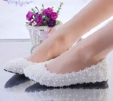 White Lace Flats Wedding Shoes Woman Handmade Pearls Female White Bridal  Flats Shoes TG1083 Womanu0027s Wedding