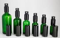 Large Stock ! Green Glass Spray Bottle 10ml 15ml 20ml 30ml 50ml 100ml Empty Perfume Bottles with Mist Sprayer Pump Free Shipping