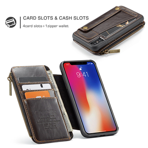 Image 3 - Detachable Leather Case For iPhone 11 Pro Max X XR XS Max Zipper Flip Phone Case For iPhone 8 7 Plus 6 6S SE 2020 Wallet Cases