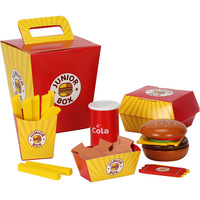 New Wooden Baby Toys French Fries Hamburger Wooden Baby Food Toys Sets