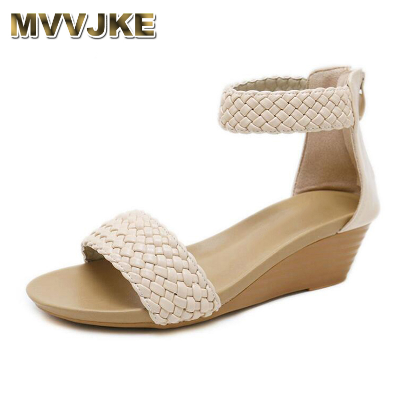 MVVJKE 2019 new woman wedge Weaving sandals gladiator women sandals mid heel sandals ladies summer peep toe women platform shoes(China)