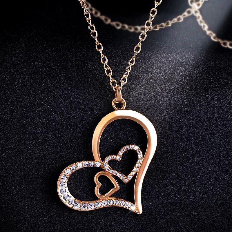 Gold Crystal Double Heart Pendant Necklace Long Gold Heart Necklace Romantic Necklace for Women Jewelry Christmas Gifts nken21  Ожерелье