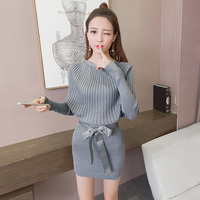 Knitting Outfit Women Autumn Suits Korean Fashion Pullovers Top Sweater Dress Bow Girl Sexy Knit Lady
