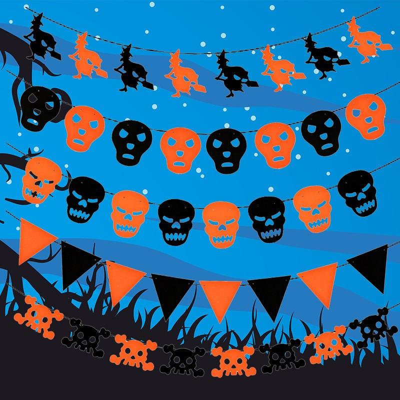 DIY New Fabric Chain Garland Decorations Bat Shape Halloween Decor Garland