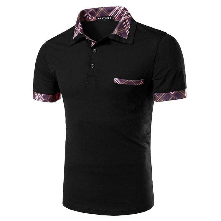 Men Polo Shirt Fashion Plaid Collar Business Mens Polo 2016 Casual Short Sleeved Sports Golf Tennis Cotton Polo Red Camisa M-2XL (11)