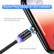 Magnetic LED Cable For Lightning Micro USB Type C Phone Cable For iPhone X 7 6 Xs Max 1m 2A Fast Charging Magnet Charger