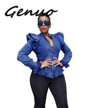 Genuo New Autumn Hot 2019 Famous Brand Sexy Hollow Out Women Solid Ruffles Coats Ladies Zipper V-Neck Full Sleeve Short