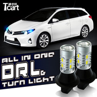 Tcart 1Set Auto Led Bulbs Car DRL Daytime Running Lights Turn Signals All In One Lamps WY21W T20 For Nissan Murano SUV 2010 2014