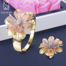 цены SISCATHY 2PCS Luxury Bangle Flower Shape Three Tones Cubic Zirconia Inlaid Bridal Wedding Bracelet Ring For Women Jewelry Sets