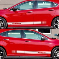 2pcs Customizable For ABARTH Door Stickers Decal Car Styling For Fiat 500 Grande Punto Bravo Doblo