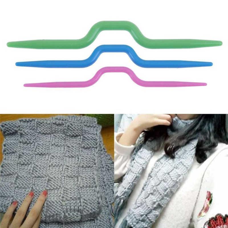 3 uds ganchos para tejer agujas de plástico suéter bufanda Utensilios de costura torcido curvo aguja artesanía DIY herramienta Dropshipping