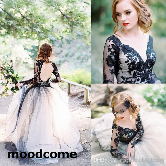 f9b5d719efb1 Vintage 2018 Latest Black Lace And White Tulle Wedding Dresses Sexy V Neck  Backless Illusion Long Sleeves Gothic Bridal Gowns