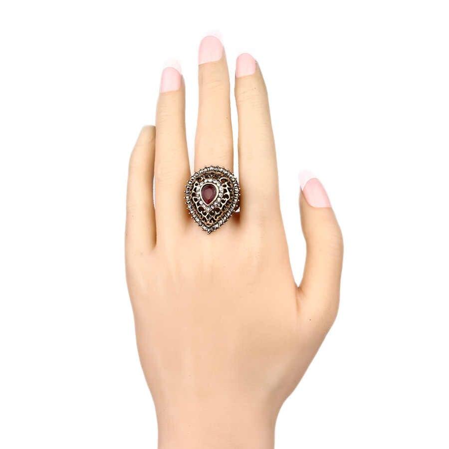 2017 Роскошные богемные капли воды обручальные кольца для женщин цвет золотой мозаичный Кристалл Anel Винтажные Ювелирные Изделия