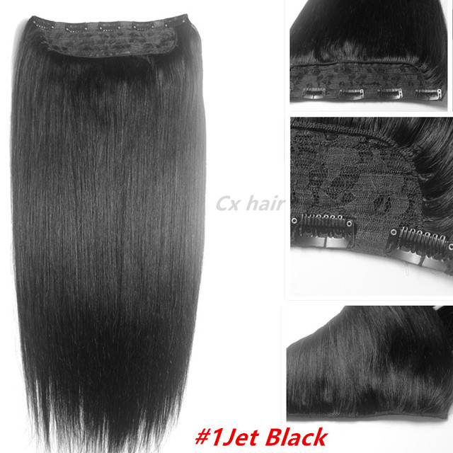 #1 jet negro Grueso Cabeza Llena 1 unids head set completo 100% remy Virginal brasileño extensiones de cabello humano clips en/sobre 26 colores disponibles