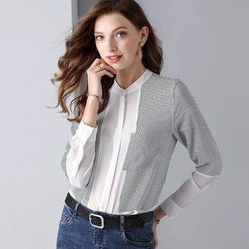 silk floral blouse 5xl chiffon dames shirts casual bohemian women's blouses and tops ladies summer 2019 loose striped Luxury