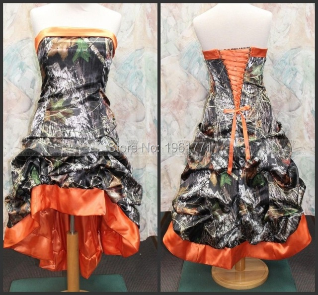 gothic victorian orange camo wedding dresses actual image strapless a line corset women high low - Orange Camo Wedding Rings
