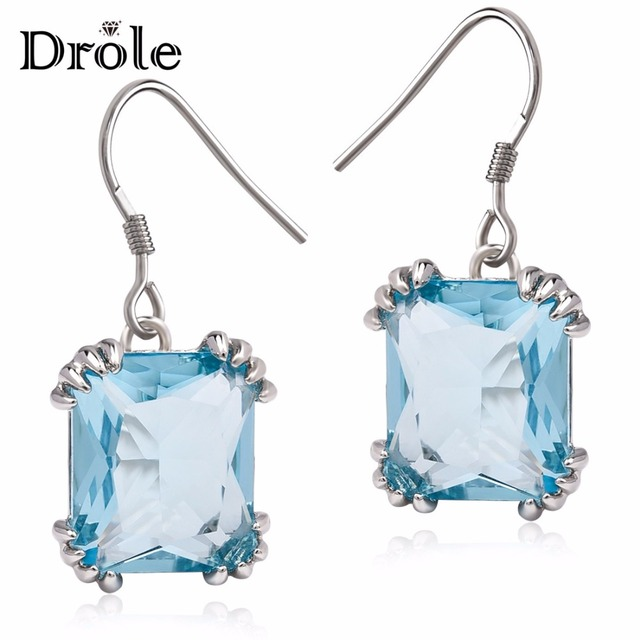 5 Color Vintage Big Red Crystal Stone Drop Earrings for Women Korean Fashion Jew