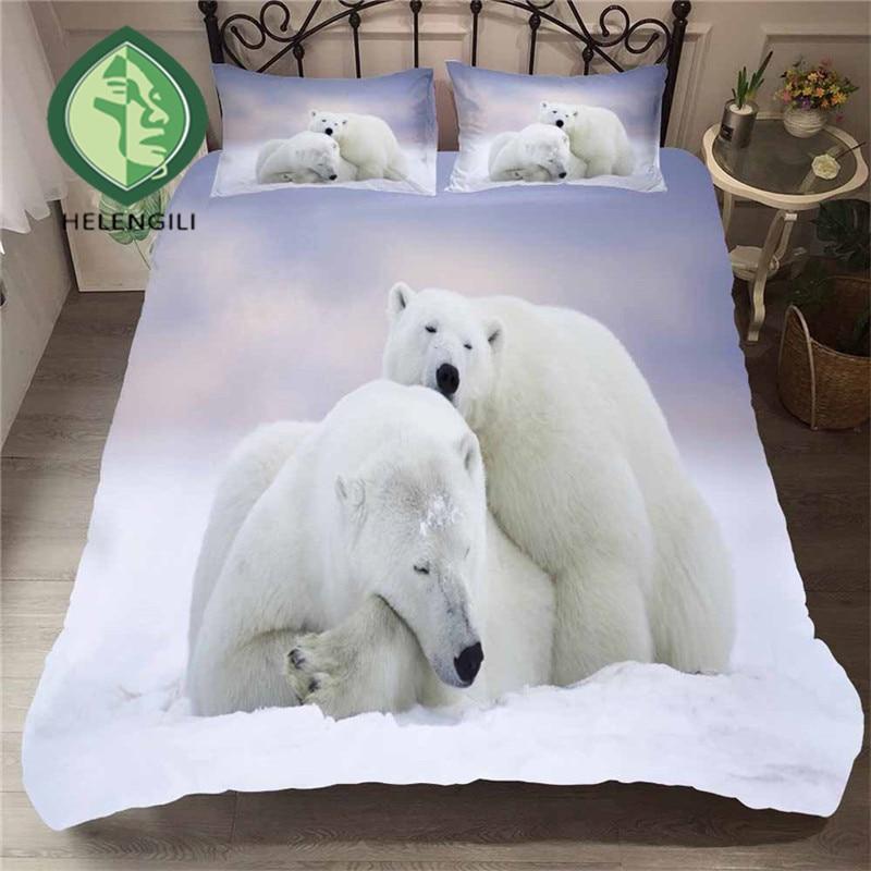 HELENGILI 3D Bedding Set Polar Bear Print Duvet Cover Set Lifelike Bedclothes With Pillowcase Bed Set Home Textiles #BJX-02