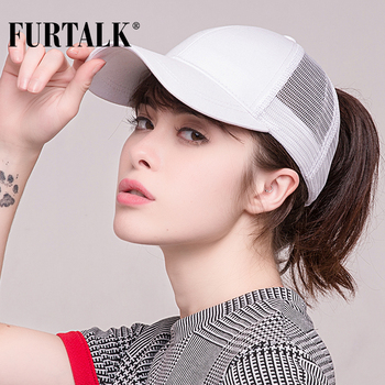 FURTALK Ponytail Baseball Cap Women Messy Bun Baseball Cap Glitter Snapback Cap Female Hip Pop Hat Summer Black White Hat 2