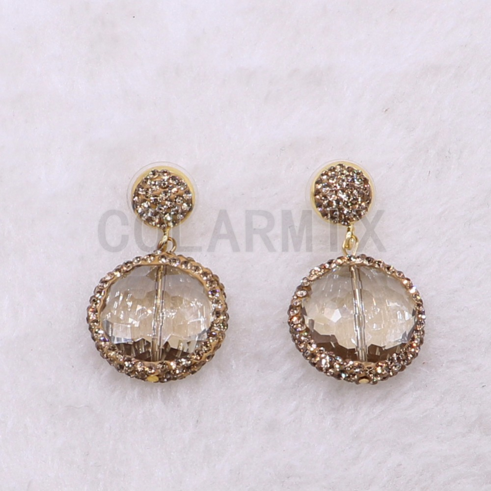 Fashion clear stone crystal glass stone earrings Simple style jewelry earrings Natural faceted stone earrings3860